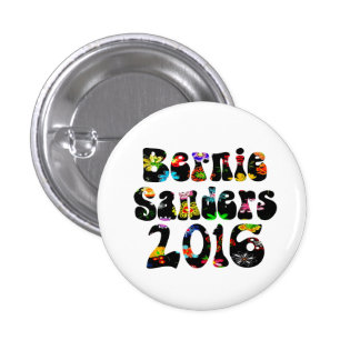 Flower Power Bernie Sanders 2016 Pinback Button