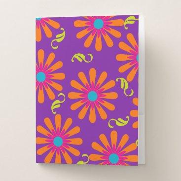 Beach Themed Flower power bright floral pocket folder