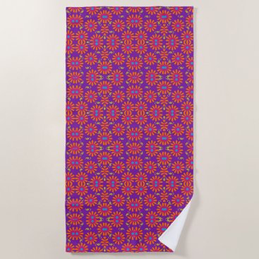 Beach Themed Flower power bright flower beach towel