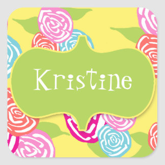 Flower Power Brights Collection Name Sticker