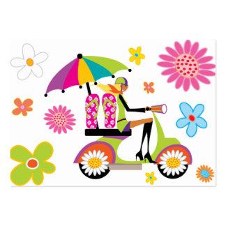 Flower Power Business Card Scooter Girl Flip Flops
