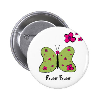Flower Power Butterfly T-shirt Pinback Button