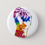 "Flower power button<br><div class=""desc"">Flower fist illustration in rainbow LGBT colors. For rebels!</div>"