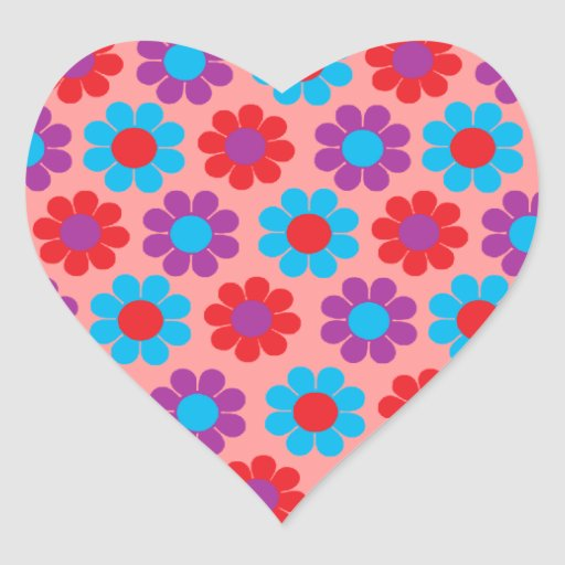 Flower power calcomania de corazon personalizadas