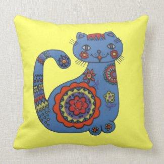 Flower Power Cat American MoJo Pillow