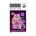 Flower Power Cat birthday postage