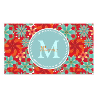 Flower Power Chic Monogram Double-Sided Standard Business Cards (Pack Of 100)