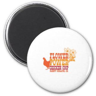 Flower Power Chicken Coop 2 Inch Round Magnet