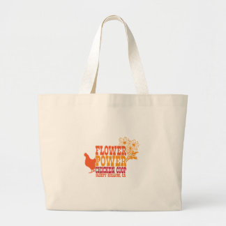 Flower Power Chicken Coop Large Tote Bag