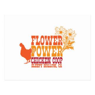 Flower Power Chicken Coop Postcard