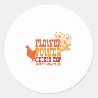Flower Power Chicken Coop Round Stickers