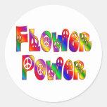 FLOWER POWER CLASSIC ROUND STICKER
