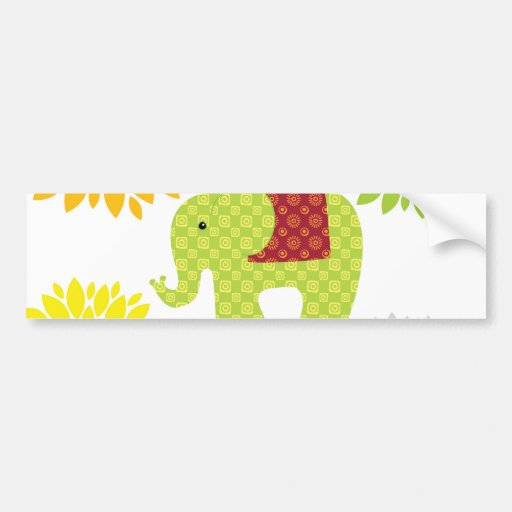 Flower power colorido bonito del elefante del Hipp Pegatina De Parachoque