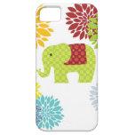 Flower power colorido bonito del elefante del Hipp iPhone 5 Coberturas