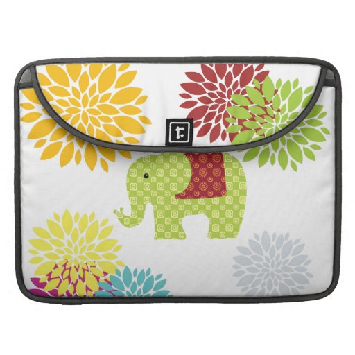 Flower power colorido bonito del elefante del Hipp Funda Para Macbook Pro