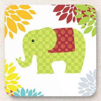 Flower power colorido bonito del elefante del Hipp Posavasos De Bebidas