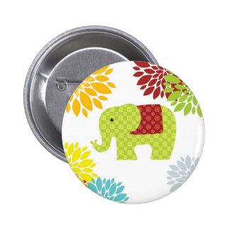 Flower power colorido bonito del elefante del pin redondo de 2 pulgadas