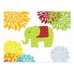 Flower power colorido bonito del elefante del postal