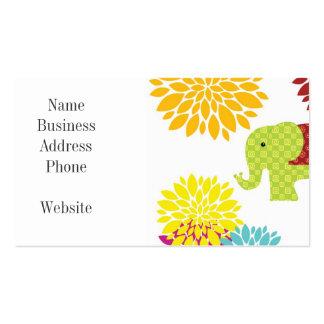 Flower power colorido bonito del elefante del tarjetas de visita