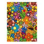Flower power colorido tarjetas postales