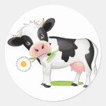 Flower Power Cow Classic Round Sticker