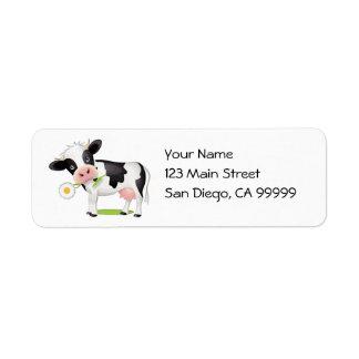 Flower Power Cow Return Address Label