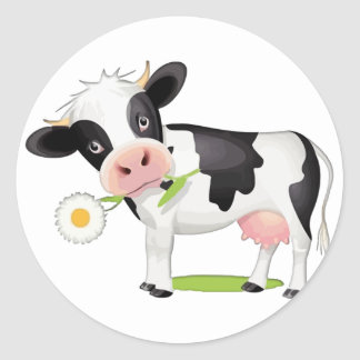 Flower Power Cow Stickers