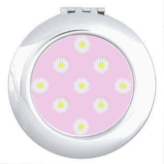 """""""Flower Power""""  Daisies: Pink-Yel-White Mirror For Makeup"""