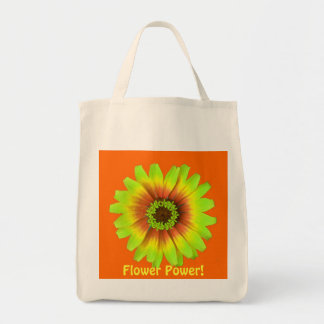 flower power daisy green with orange background... canvas bags