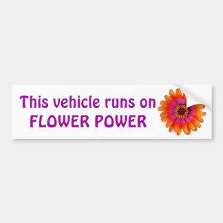 flower power daisy orange, This vehicle runs on... Bumper Sticker