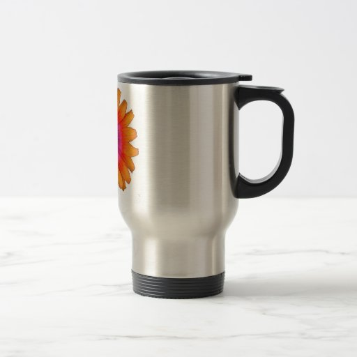 flower power daisy orange travel mug