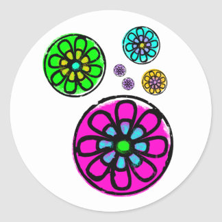 Flower power de Fibonacci Etiquetas Redondas