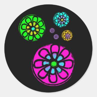 Flower power de Fibonacci Pegatina Redonda