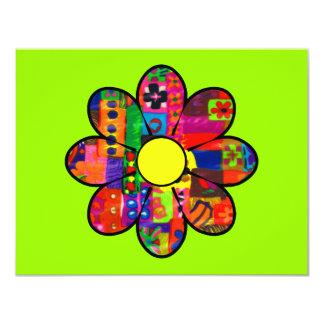 """Flower power de los años 60 invitación 4.25"""" x 5.5"""""""