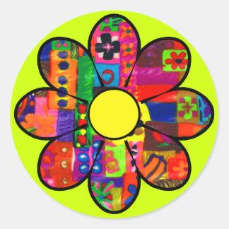 Flower power de los años 60 etiquetas redondas
