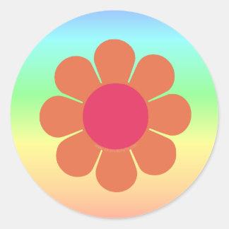 flower power de los años 70 etiqueta redonda