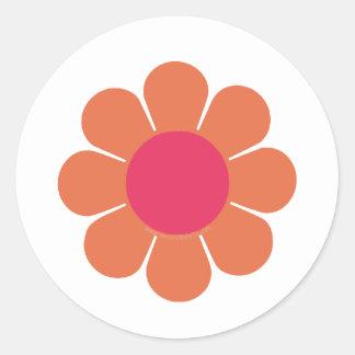 flower power de los años 70 pegatina redonda