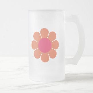flower power de los años 70 taza de cristal