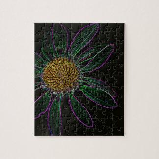 Flower power de neón ligero negro rompecabeza