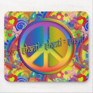 Flower power de OM Shanti el   de la paz Alfombrilla De Ratón
