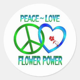 FLOWER POWER del amor de la paz Pegatina Redonda