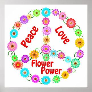Flower power del amor de la paz poster