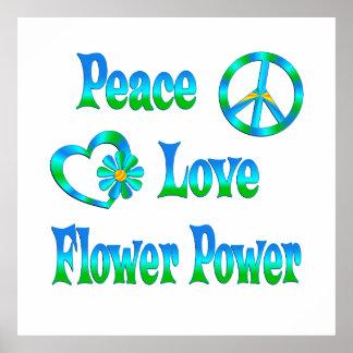 FLOWER POWER DEL AMOR DE LA PAZ POSTERS