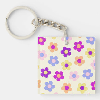 Flower Power Design – Yellow Background Keychain