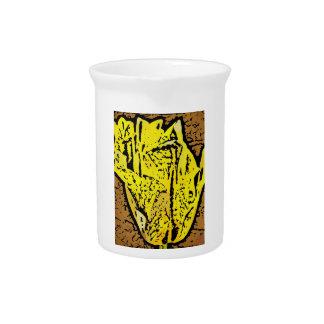 Flower power en amarillo jarras de beber