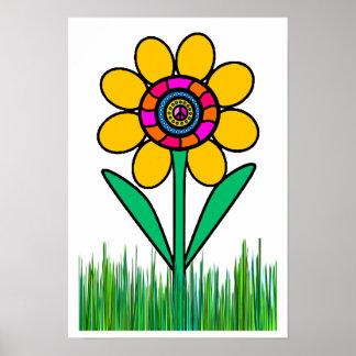 FLOWER POWER EN LA HIERBA… PÓSTER