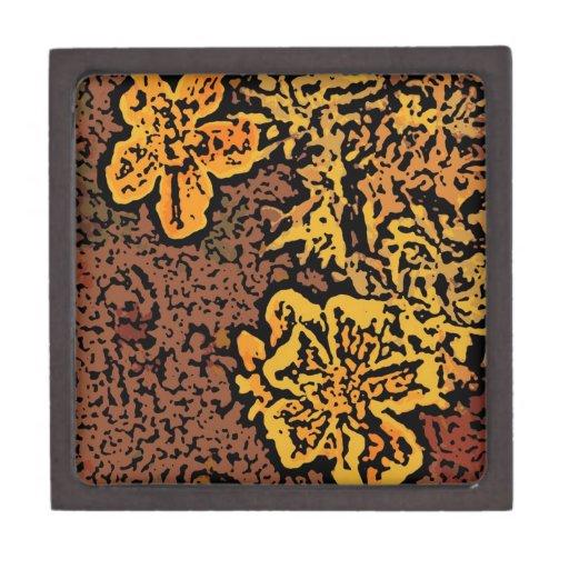 Flower power en naranja y amarillo cajas de joyas de calidad