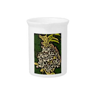 Flower power en oro y blanco jarra