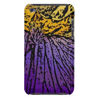 Flower power en púrpura y amarillo iPod Case-Mate cárcasas