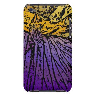 Flower power en púrpura y amarillo iPod Case-Mate protectores